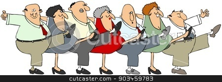Senior citizen can-can stock photo, Illustration depicting senior men and woman dancing the can-can. by Dennis Cox