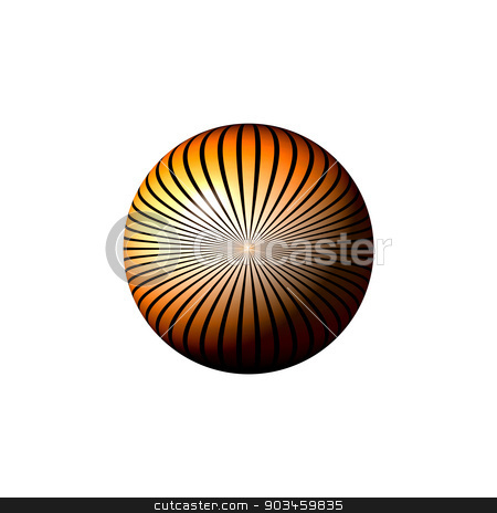 Orange Star Globe stock photo, Orange black and white globe on white background. by Henrik Lehnerer