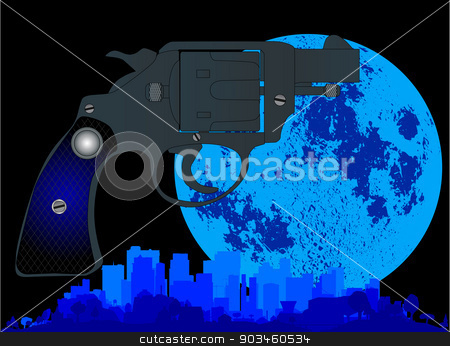 Law and Order stock vector clipart, A cityscape with a large full moon glowing and a snub nose 45 in the foreground by Kotto