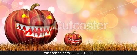 Pumpkins for halloween - 3D render stock photo, Two pumpkins on autumnal grass for halloween - 3D render by Elenarts
