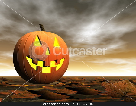 Pumpkin for halloween - 3D render stock photo, One pumpkin on the ground by brown sunset - 3D render by Elenarts