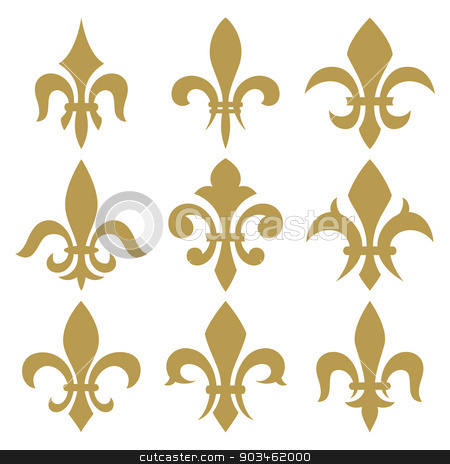 Fleur de lis set stock vector clipart, fleur de lis set. Vector isolated images. by Dmitry