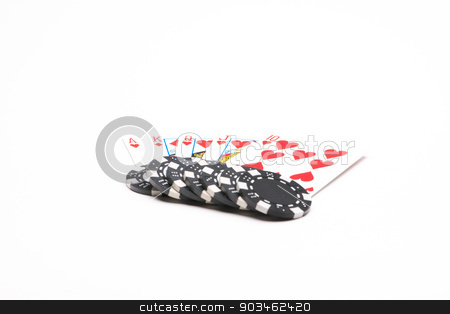Poker cards with chips stock photo, Poker cards with chips isolated on white background by Thibault Duchier