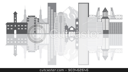 Portland Oregon Skyline Grayscale Illustration stock vector clipart, Portland Oregon Outline Silhouette with City Skyline Downtown Panorama GrayscaleReflection Isolated on White Background Illustration by Jit Lim