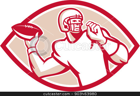 American Football QB Throwing Oval Retro stock vector clipart, Illustration of an american football gridiron quarterback qb throwing ball set inside circle on isolated background done in retro style.  by patrimonio