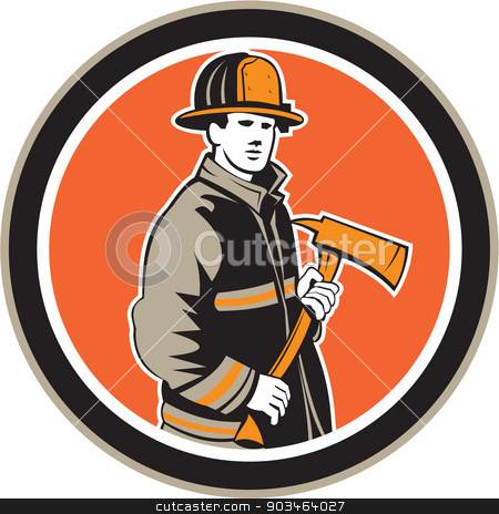 Fireman Firefighter Holding Fire Axe Circle stock vector clipart, Illustration of a fireman fire fighter emergency worker holding a fire axe viewed from front set inside circle on isolated background done in retro style. by patrimonio