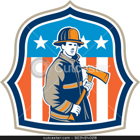 American Fireman Firefighter Fire Axe Shield stock vector clipart, Illustration of an american fireman fire fighter emergency worker holding a fire axe viewed from front set inside shield crest with american stars and stripes flag in the background done in retro style. by patrimonio