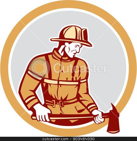 Fireman Firefighter Holding Fire Axe Circle stock vector clipart, Illustration of a fireman fire fighter emergency worker holding a fire axe looking to the side set inside circle on isolated background done in retro style. by patrimonio