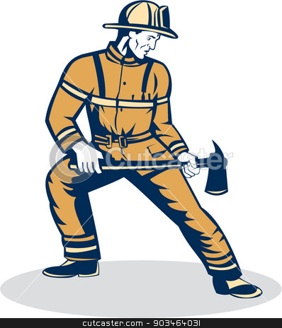 Fireman Firefighter Standing Holding Fire Axe  stock vector clipart, Illustration of a fireman fire fighter emergency worker standing holding a fire axe looking to the side set on isolated white background done in retro style. by patrimonio