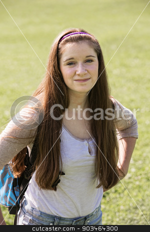 Cute Teen Student stock photo, Cute young Caucasian teenage female with backpack by Scott Griessel