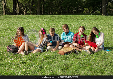 Six Teenagers Studying stock photo, Six Caucasian teenagers sitting on grass studying by Scott Griessel