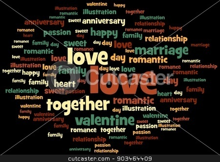 Love stock photo, Love word and tag cloud on black background. by Henrik Lehnerer