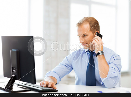 smiling businessman with smartphone in office stock photo, picture of smiling businessman with smartphone in office by Syda Productions