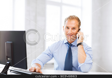 smiling businessman with smartphone in office stock photo, business and technology concept - smiling businessman with smartphone in office by Syda Productions
