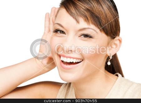 happy woman listening gossip stock photo, bright picture of happy woman listening gossip by Syda Productions