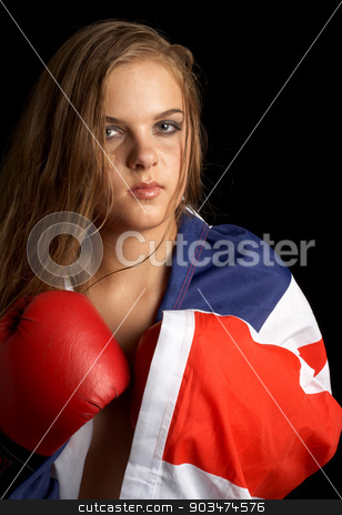british boxer stock photo, boxer girl with british flag by Syda Productions