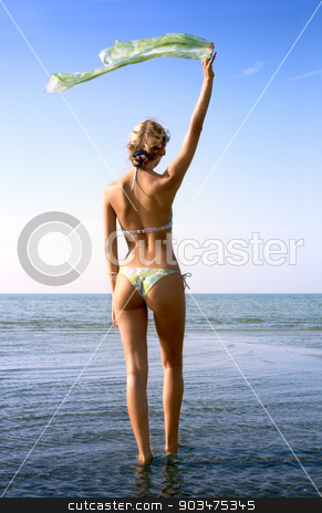 blond with green scarf stock photo, pretty blond in bikini with green scarf in water by Syda Productions