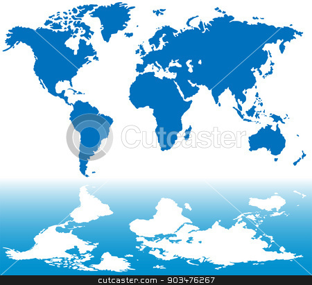 Stylized world map stock vector clipart, Stylized blue world map with reflection in water by Volina