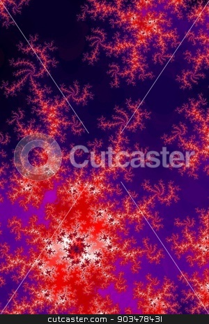 Glowing Red Fractal stock photo, Fractal background image with glowing red colors. by Henrik Lehnerer