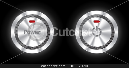 Shiny power buttons with hexagon mesh  stock vector clipart, Shiny power buttons with metallic hexagon mesh  by Mihaly Pal Fazakas
