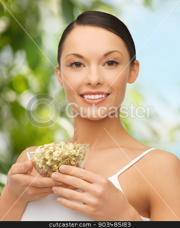 healthy woman holding bowl with sprout stock photo, diet and healh concept - healthy woman holding bowl with sprout by Syda Productions