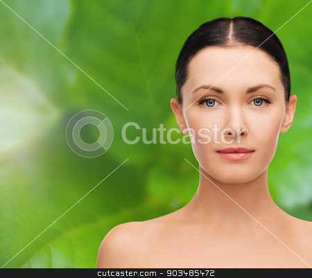 face and shoulders of beautiful woman stock photo, beauty and health concept - face and shoulders of beautiful woman by Syda Productions