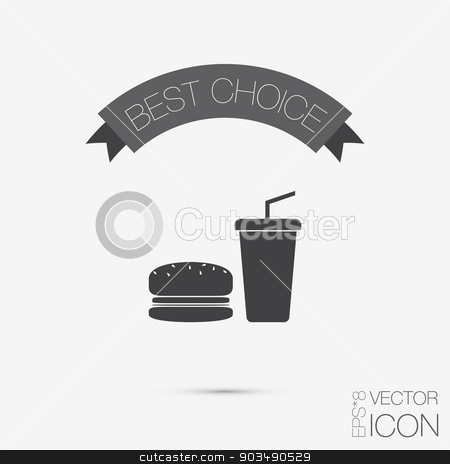 Burger And Paper Cup Symbol Of Fast Food Stock Vector