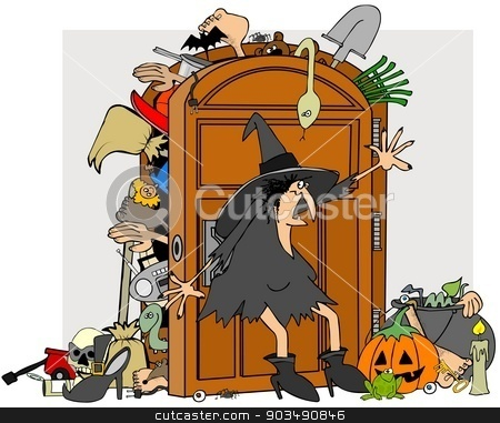 Witches closet stock photo, This illustration depicts a witch trying to close the door of her stuffed closet. by Dennis Cox