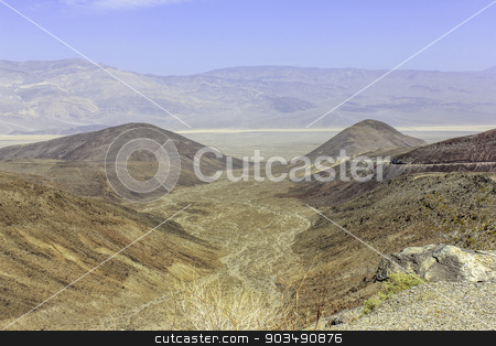 Alluvial fan stock photo, Looking down on an alluvial fan with desert and mountains in the distance by Ken easter