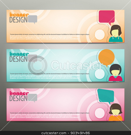 girl banners stock vector clipart, set of horizontal business banners with girl avatar and speech bubbles. colorful vector web design by metrue