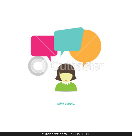 think about stock vector clipart, cartoon style woman avatar with colorful speech bubbles. chatting girl vector icon  by metrue