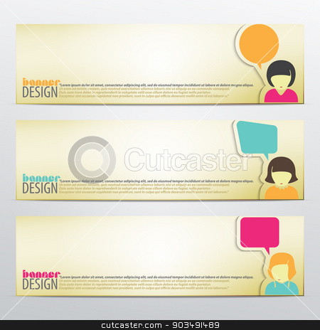 three girls stock vector clipart, set of horizontal business banners with woman and speech bubbles. vector web design by metrue