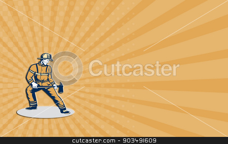 Business card Fireman Firefighter Standing Holding Fire Axe stock photo, Business card showing illustration of a fireman fire fighter emergency worker standing holding a fire axe looking to the side set on isolated white background done in retro style. by patrimonio
