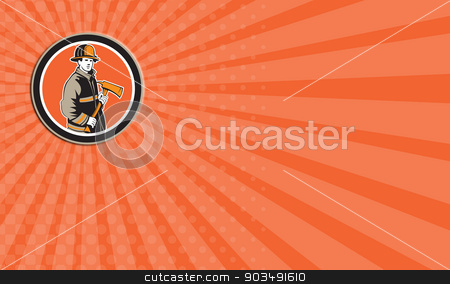 Business card Fireman Firefighter Holding Fire Axe Circle stock photo, Business card showing illustration of a fireman fire fighter emergency worker holding a fire axe viewed from front set inside circle on isolated background done in retro style. by patrimonio