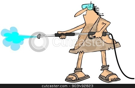 Caveman pressure wash stock photo, This illustration depicts a caveman spraying with a pressure washer wand. by Dennis Cox