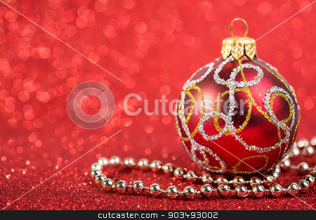 festive christmas vintage decoration bauble stock photo, festive christmas vintage decoration bauble on glitter red background. seasonal winter holidays by LenaIvanova