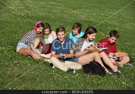 Cute Teens Studying Together stock photo, Group of six male and female teens studying together by Scott Griessel