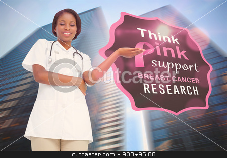 Composite image of young nurse presenting stock photo, Young nurse presenting against low angle view of skyscrapers by Wavebreak Media