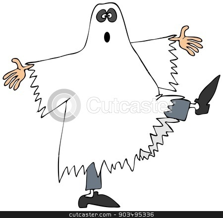 Ghost dancer stock photo, This illustration depicts a man in a ghost costume dancing and kicking his leg up. by Dennis Cox