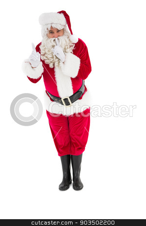 Santa claus keeping a secret  stock photo, Santa claus keeping a secret  on white background by Wavebreak Media