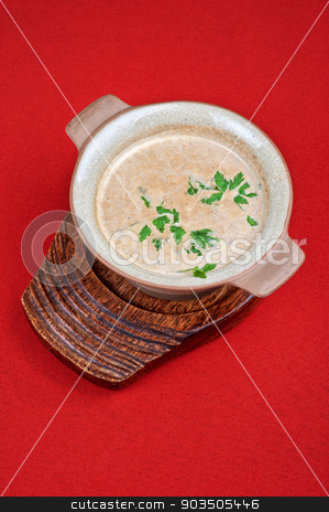 Mushroom cream  soup stock photo, Mushroom cream  soup on red background by olinchuk