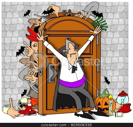 Vampire's closet stock photo, This illustration depicts a vampire trying desperately to keep items from coming out of his stuffed closet. by Dennis Cox