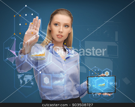 smiling woman working with tablet pc computer stock photo, business, education and technology concept - smiling woman working with tablet pc computer by Syda Productions