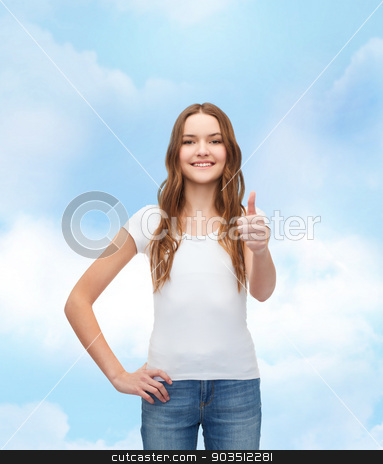 smiling teenager in blank white t-shirt stock photo, t-shirt design concept - smiling teenager in blank white t-shirt showing thumbs up by Syda Productions
