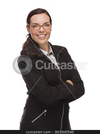 Confident Mixed Race Businesswoman Isolated on White stock photo, Confident Mixed Race Businesswoman Isolated on a White Background. by Andy Dean