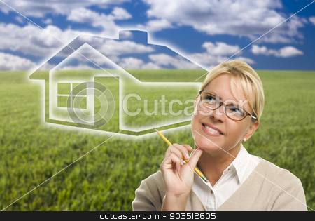 Woman and Grass Field with Ghosted House Figure Behind stock photo, Contemplative Woman in Grass Field Looking Up and Over to the Side with Ghosted House Figure Behind. by Andy Dean