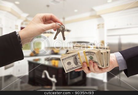 Handing Over Cash for Keys Inside Beautiful Home stock photo, Beautiful Custom Kitchen Interior in a New House by Andy Dean