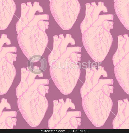 Sketch human heart in vintage style stock vector clipart, Sketch human heart in vintage style, vector Valentine seamless pattern by Lily