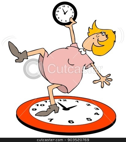 Woman fall back stock photo, This illustration depicts a woman falling back onto a large clock for daylight savings time. by Dennis Cox