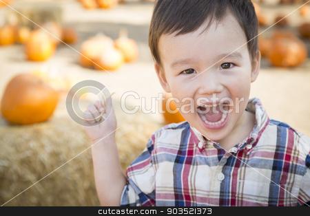 Mixed Race Young Boy Having Fun at the Pumpkin Patch stock photo, Cute Mixed Race Young Boy Having Fun at the Pumpkin Patch. by Andy Dean